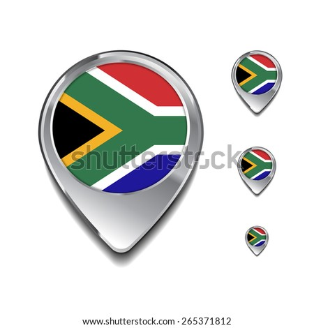 South Africa flag map pointer. 3d Map Pointer with flag glossy button style on gray background - stock vector