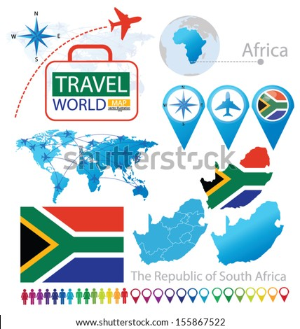 South Africa. flag. map. Travel vector Illustration. - stock vector