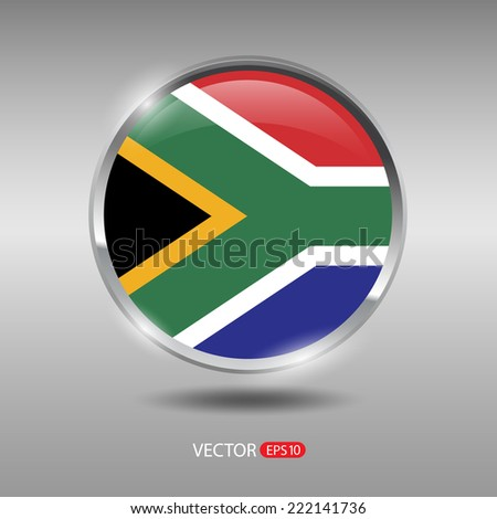 South Africa flag, shiny, glossy metal vector badge
