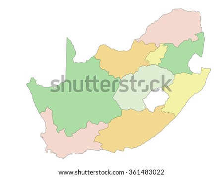 South Africa - Highly detailed editable political map.