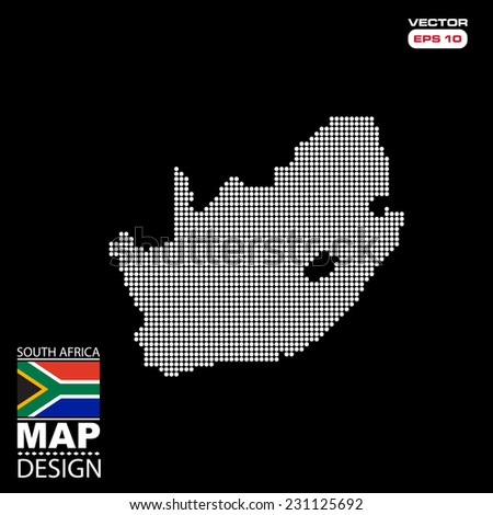 South Africa map flag halftone dots effect in vector format - stock vector
