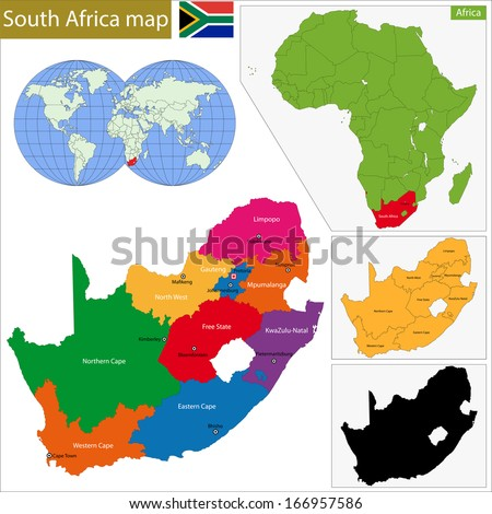 South Africa map with the provinces and the main cities - stock vector