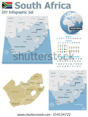 South Africa maps with markers - stock vector