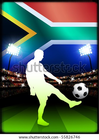 South Africa Soccer Player on Stadium Background with Flag Original Illustration - stock vector