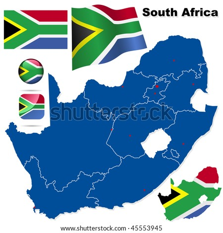 South Africa vector set. Detailed country shape with region borders, flags and icons isolated on white background. - stock vector
