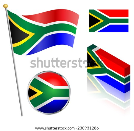 South African flag on a pole, badge and isometric designs vector illustration.  - stock vector