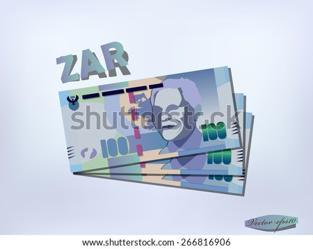 south african rand money paper design - stock vector
