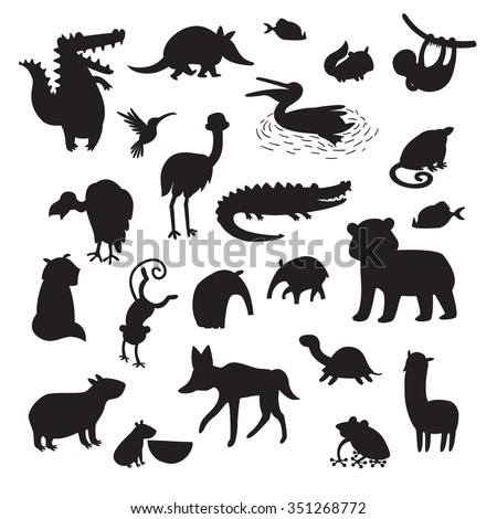 South America animals silhouettes,isolated on white background black contour vector illustration. South America animals contour.South America mammals big vector set.Preschool, baby, drawn, educations - stock vector