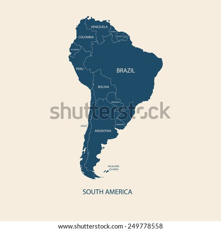 South america color map name countries stock vector 249778558 south america color map with name of countries flat illustration vector gumiabroncs Images