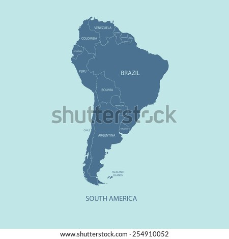 SOUTH AMERICA COLOR MAP WITH NAME OF COUNTRIES flat illustration vector  - stock vector