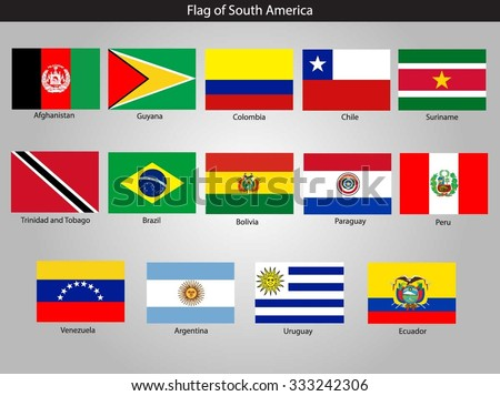 South America Continent Flag Pack.Vector.