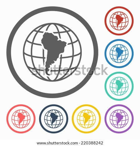 south america continent icon - stock vector