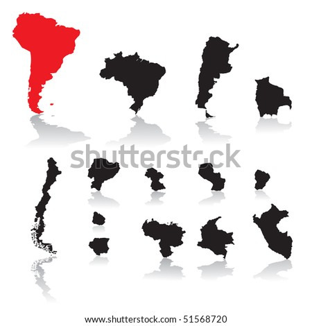 South America countries - stock vector