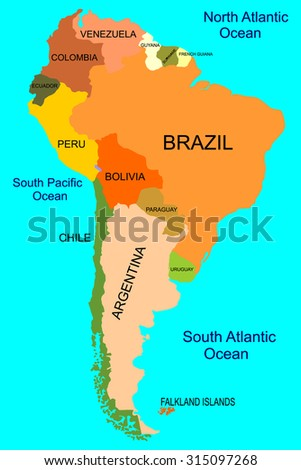 South america detailed map stock vector 315097268 shutterstock south america detailed map sciox Choice Image