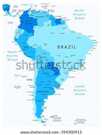 South America Detailed Map Blue Colors. All elements are separated in editable layers clearly labeled. - stock vector