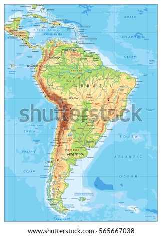 South America Detailed Physical Map Global Stock Vector - Physical map of usa and canada