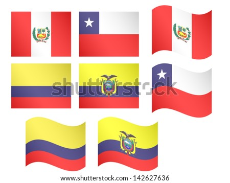 South America Flags Peru Chile Colombia Ecuador with Coats of Arms EPS 10 - stock vector