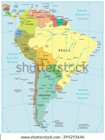 South America Highly Detailed Vector Map.All elements are separated in editable layers clearly labeled. - stock vector
