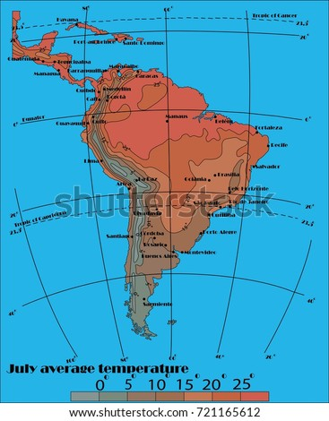 South America July Average Temperatures Stock Vector 721165612 ... on south america continent map, south america seismicity map, south america climate map, south america physical map, south america drought map, south america wind map, south america topographic map, south america time zone map, south america vegetation map, south korea temperature map, south america interactive map, south america rainfall map, pampas grasslands south america map, north america temperature map, south america elevation map, south america color map, south american weather forecast, central america climate zone map, south america water map, south america animals,