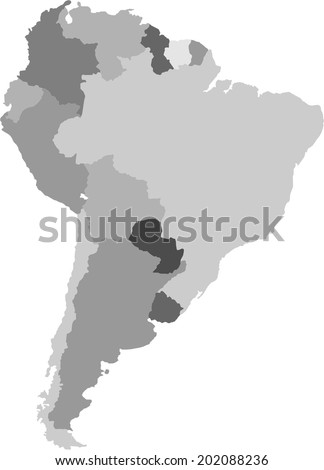 South America map. All elements are separated. Vector  - stock vector