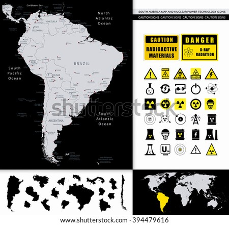 South America Map And Nuclear Power Technology Icons. All elements are separated in editable layers clearly labeled. - stock vector