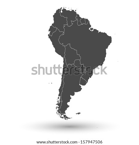 South America map background vector - stock vector