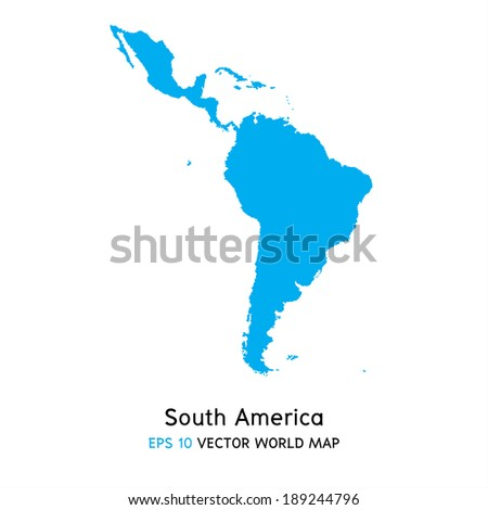 South America map background vector, EPS10 - stock vector