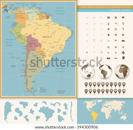 South America Map Detailed with Navigation Icon Set. Vintage Colors. All elements are separated in editable layers clearly labeled. - stock vector