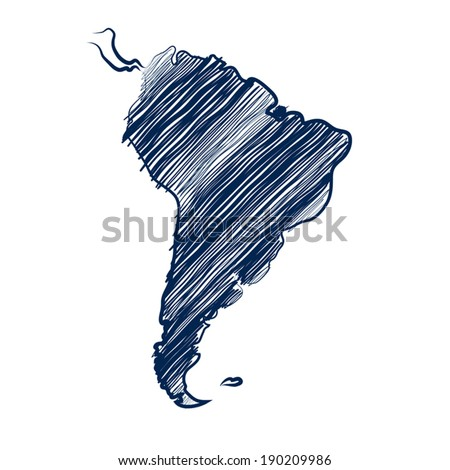 South america map hand drawn background vector - stock vector