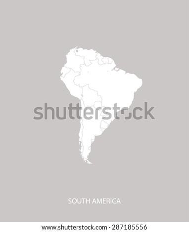 South America map outlines in a faded grey background, South America map vector for brochure template, tourist map, web page design, science and publication uses - stock vector