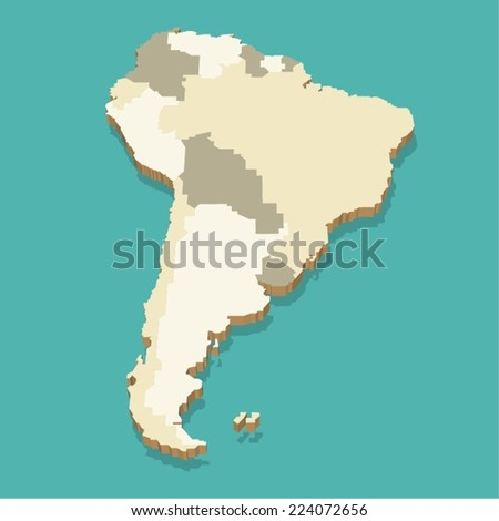 South America Map Vector Three Dimensional - stock vector