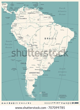 South america map vintage detailed vector stock vector 707099785 south america map vintage detailed vector illustration sciox Choice Image