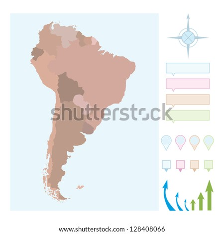 South America map with borders for countries. - stock vector