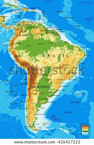 South America-physical map - stock vector