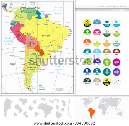 South America Political Map and Flat Icon Set. All elements are separated in editable layers clearly labeled. - stock vector