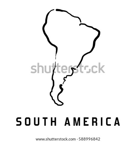 South America Simple Map Outline Smooth Simplified Continent Shape Map Vector