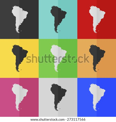 South America vector icon - colored set. Flat design - stock vector
