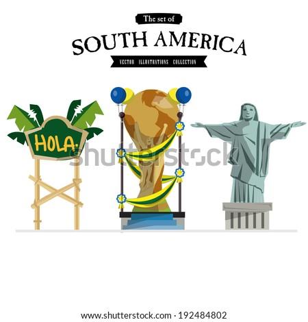 South America vector set - illustration - stock vector