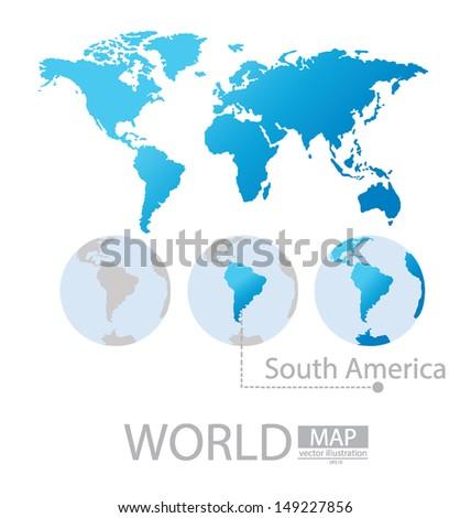South america. World Map vector Illustration - stock vector
