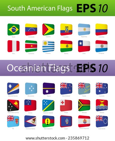 South American and Oceania flags - stock vector