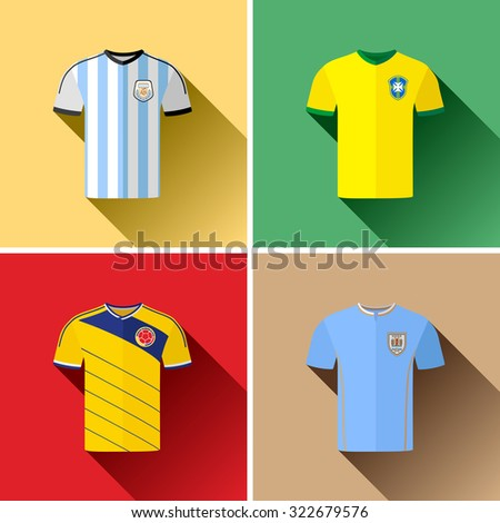 South American Football Team Jerseys Flat Icon Set. Set of vector flat icon graphics representing the football team jerseys for Argentina, Brazil, Colombia and Uruguay. - stock vector