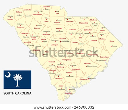 south carolina administrative map with flag - stock vector