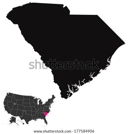 South Carolina map  - stock vector