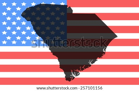 South Carolina map on a vintage american flag background - stock vector