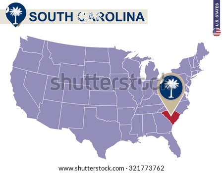 South Carolina State on USA Map. South Carolina flag and map. US States. - stock vector