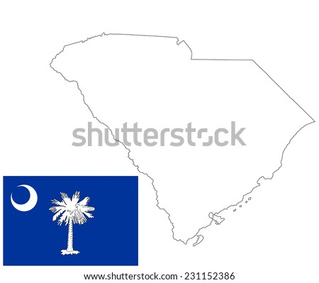 South Carolina vector map contour, and flag isolated on white background. Original and simple South Carolina state flag isolated vector in official colors and proportion correctly. - stock vector