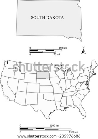 South Dakota map with the scale - stock vector