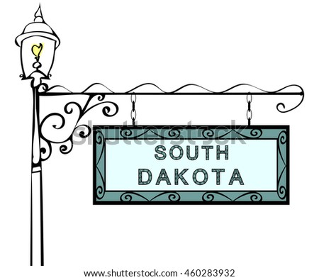 South Dakota retro pointer lamppost.