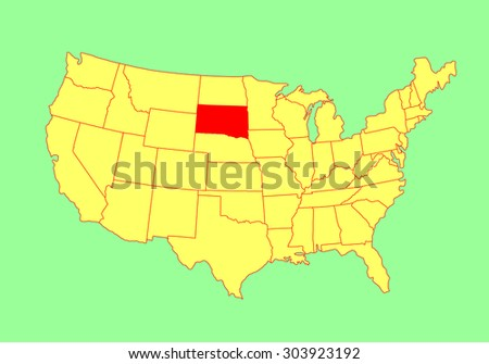 South Dakota State, USA, vector map isolated on United states map. Editable blank vector map of USA.