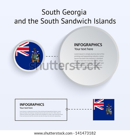 South Georgia and the South Sandwich Islands Country Set of Banners on gray background for Infographic and Presentation. Vector illustration.